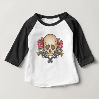 skull with vintage guns and flowers baby T-Shirt