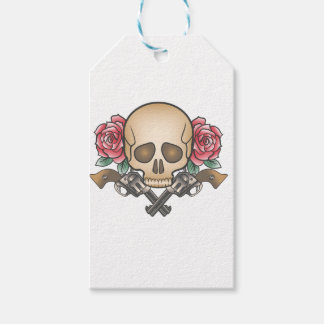 skull with vintage guns and flowers gift tags