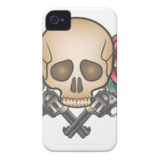 skull with vintage guns and flowers iPhone 4 covers