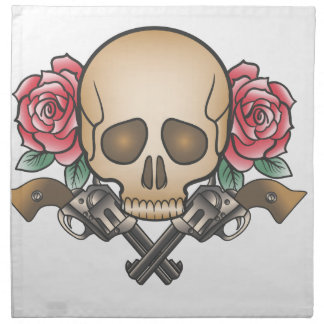 skull with vintage guns and flowers napkin