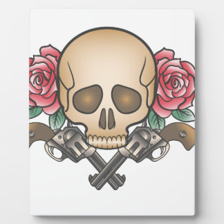 skull with vintage guns and flowers plaque
