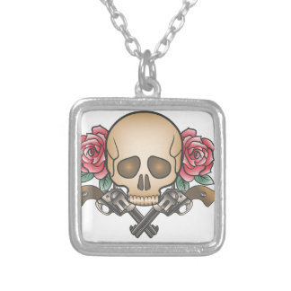 skull with vintage guns and flowers silver plated necklace