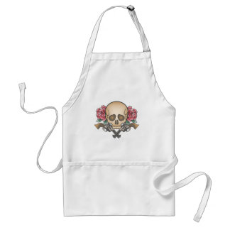 skull with vintage guns and flowers standard apron