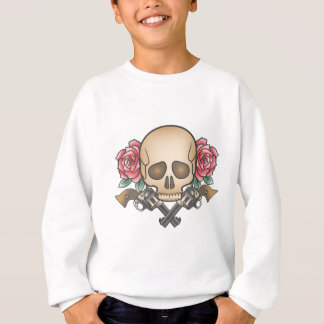 skull with vintage guns and flowers sweatshirt