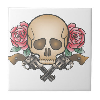 skull with vintage guns and flowers tile