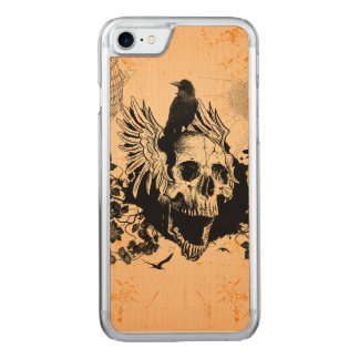 Skull with wings and crow with flowers carved iPhone 7 case