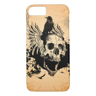 Skull with wings and crow with flowers iPhone 7 case