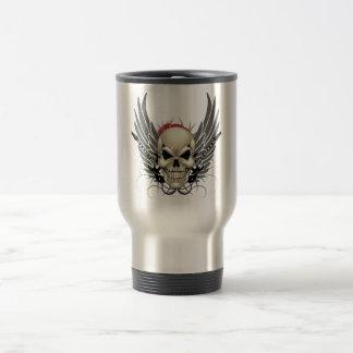 Skull with Wings and Guitars Travel Mug