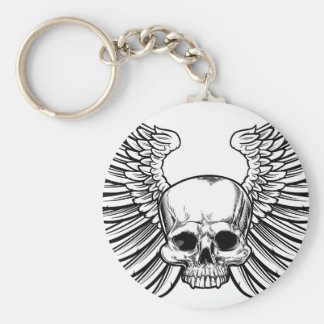 Skull with Wings Basic Round Button Keychain