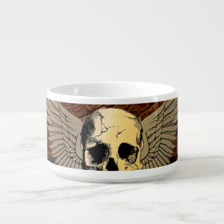 Skull with wings on dark background chili bowl