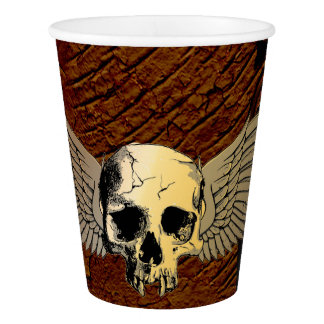 Skull with wings on dark background paper cup