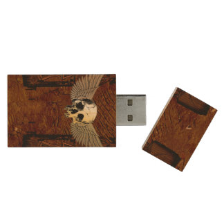 Skull with wings on dark background wood USB 2.0 flash drive