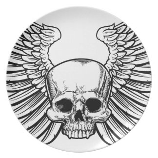 Skull with Wings Plate