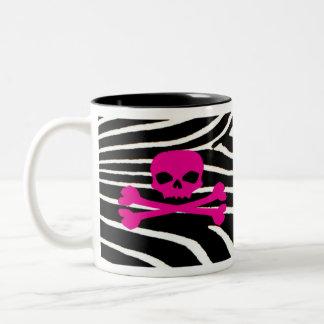 Skull with Zebra Print Two-Tone Coffee Mug