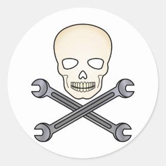 Skull & X-Wrench Classic Round Sticker