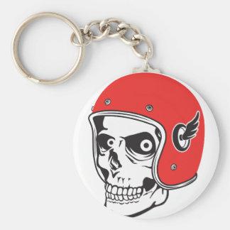 ☞ Skullracer motorcycle helmet Basic Round Button Keychain