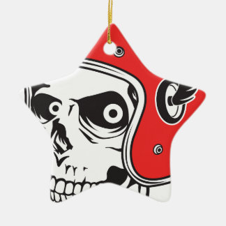 ☞ Skullracer motorcycle helmet Ceramic Ornament