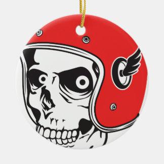 ☞ Skullracer motorcycle helmet Ceramic Ornament