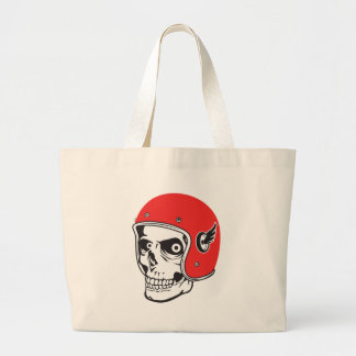 ☞ Skullracer motorcycle helmet Large Tote Bag