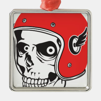 ☞ Skullracer motorcycle helmet Metal Ornament