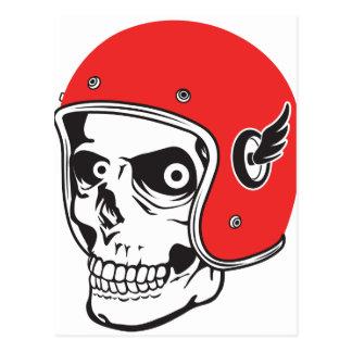 ☞ Skullracer motorcycle helmet Postcard