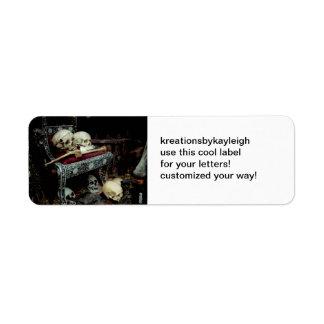 Skulls and Bones on Throne. Return Address Label