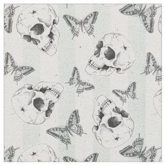 Skulls and butterflies fabric