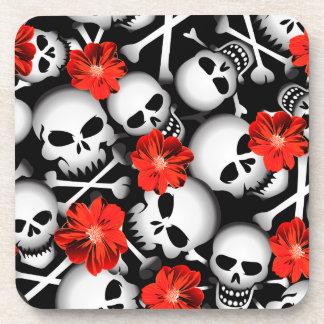 Skulls and flowers coaster