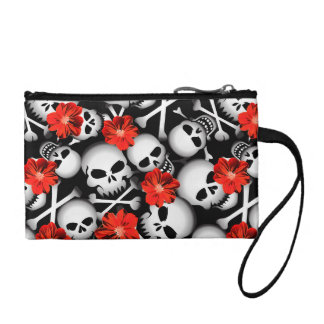 Skulls and flowers coin purse