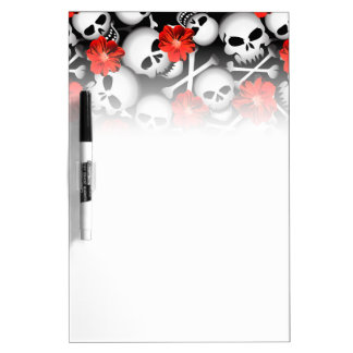Skulls and flowers dry erase board