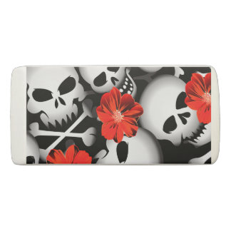 Skulls and flowers eraser
