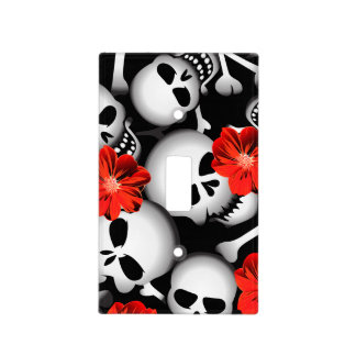 Skulls and flowers light switch cover