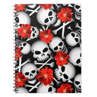 Skulls and flowers notebook
