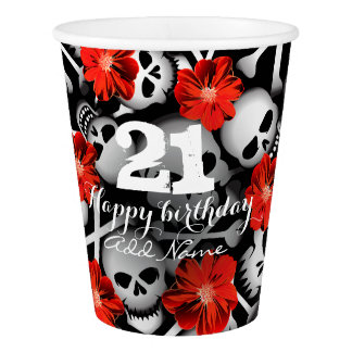 Skulls and flowers paper cup
