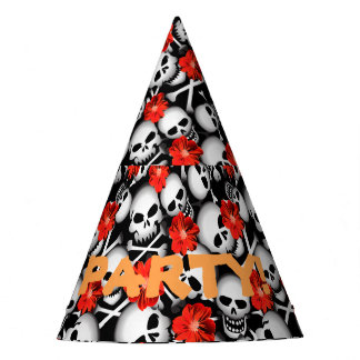 Skulls and flowers party hat