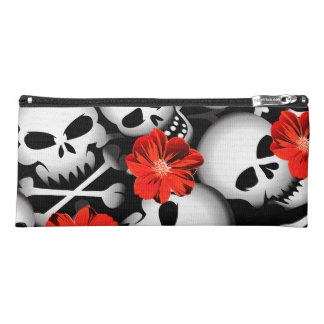 Skulls and flowers pencil case