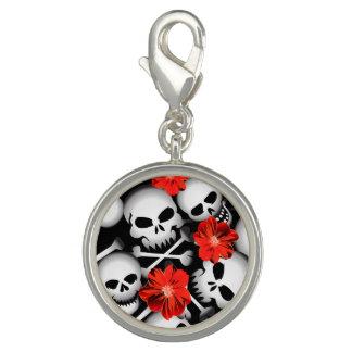 Skulls and flowers photo charm