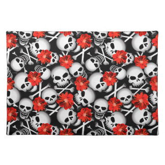 Skulls and flowers placemat