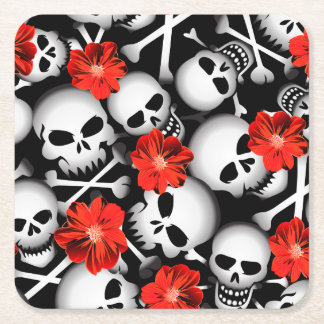 Skulls and flowers square paper coaster