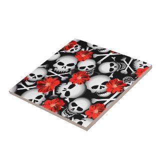 Skulls and flowers tile