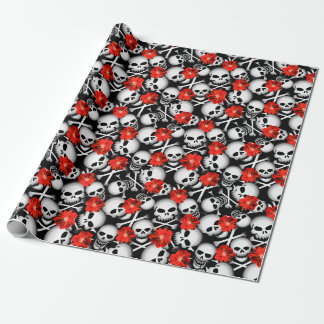 Skulls and flowers wrapping paper