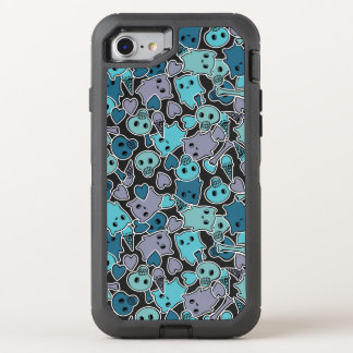 Skulls, and hearts on black background 2 OtterBox defender iPhone 8/7 case