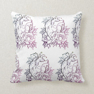 Skulls and Hearts Pillow with Color REVERSIBLE