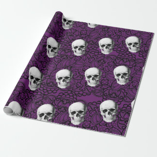Skulls and lace wrapping paper