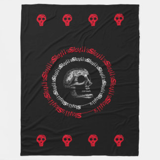 Skulls Black & White/Grey/Red Fleece Blanket