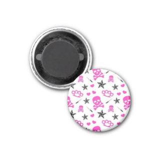 Skulls & Brass Knuckles Round Button Magnet