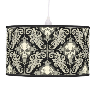 Skulls & Crosses Black and Cream Damask Pattern Pendant Lamp