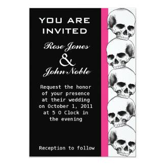 Skulls Ebony (Magenta) Wedding Invitation