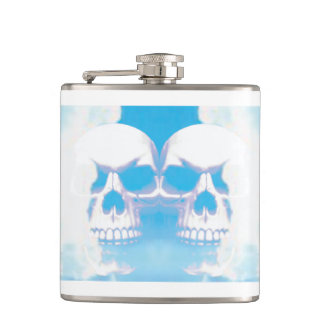 Skulls in the Clouds Hip Flask