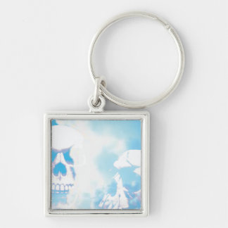 Skulls in the Clouds Silver-Colored Square Keychain